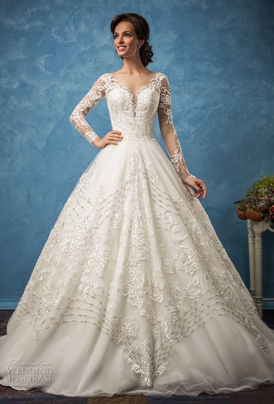Long Sleeve Vintage Wedding Dresses 2017 Amelia Sposa Bridal Sweetheart Neckline Full
