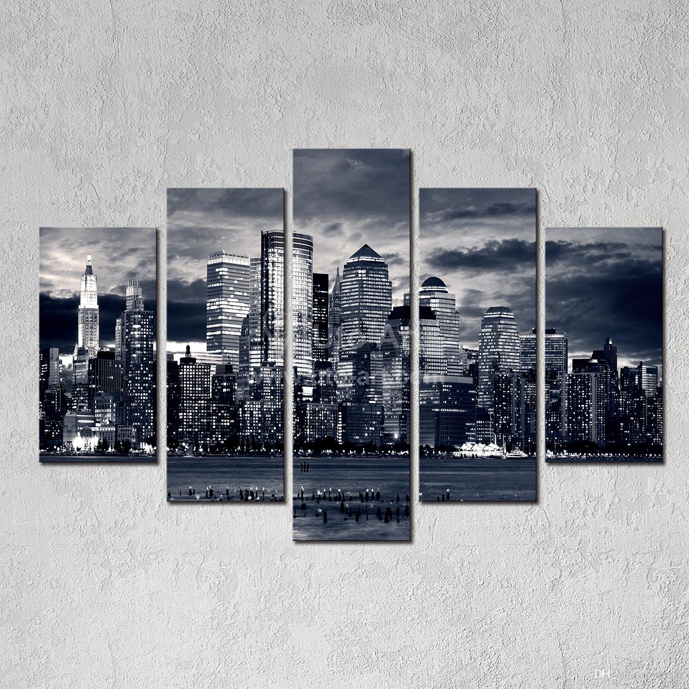 2017 Modern Home Decor New York City Painting Black White Digital Picture Print On Canvas Art