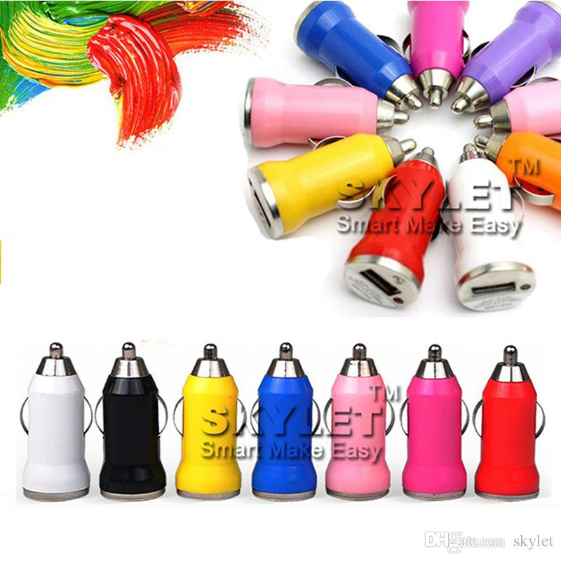 For Iphone6 USB Car Charger Colorful Bullet Mini Car Charge Portable Charger Universal Adapter For Iphone 5 5S 200 Pieces DHL Free Shipping