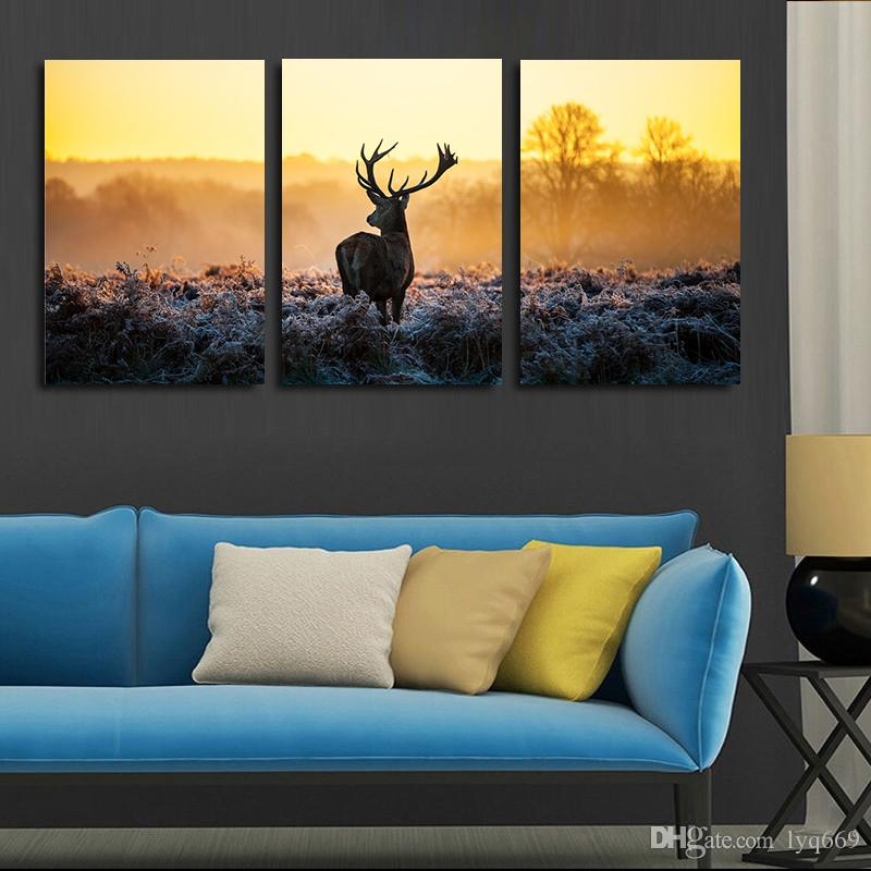 Canvas art african sunset deer painting group children 39 s room decor poster painting canvas art for Canvas prints childrens bedrooms