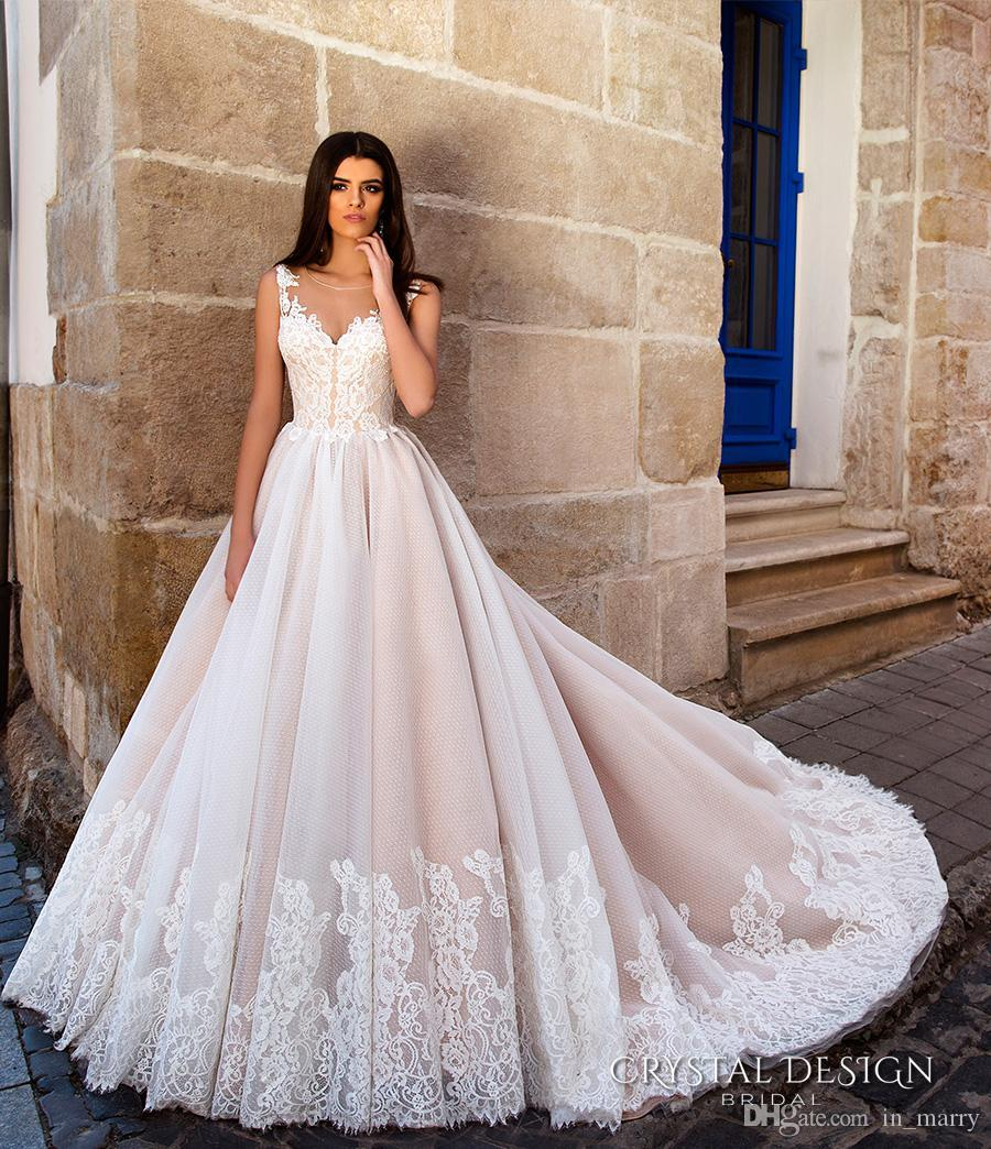 Discount 2017 Crystal Design Blush Pink Wedding Dresses A