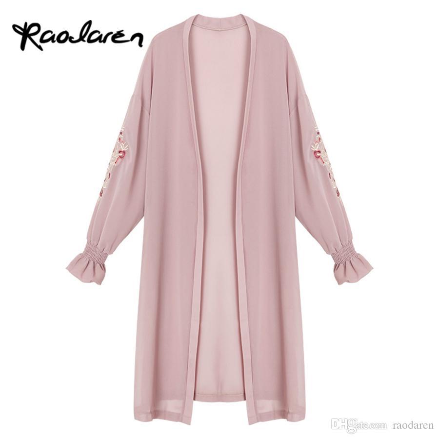 Raodaren Summer Kimono Cardigan Women 2017 Floral Embroidery ...