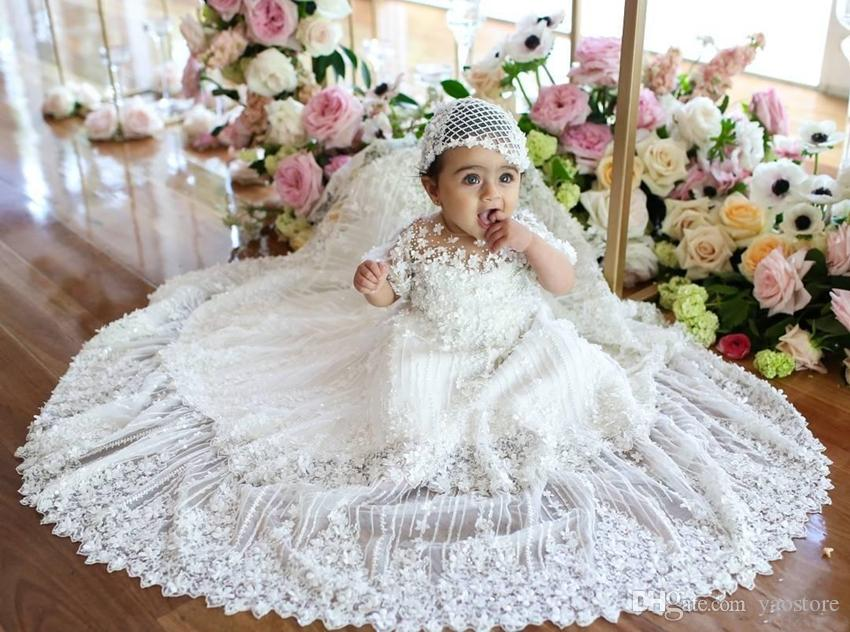 Newborn 3D Appliqued Christening Dresses With Sleeves For Baby ...