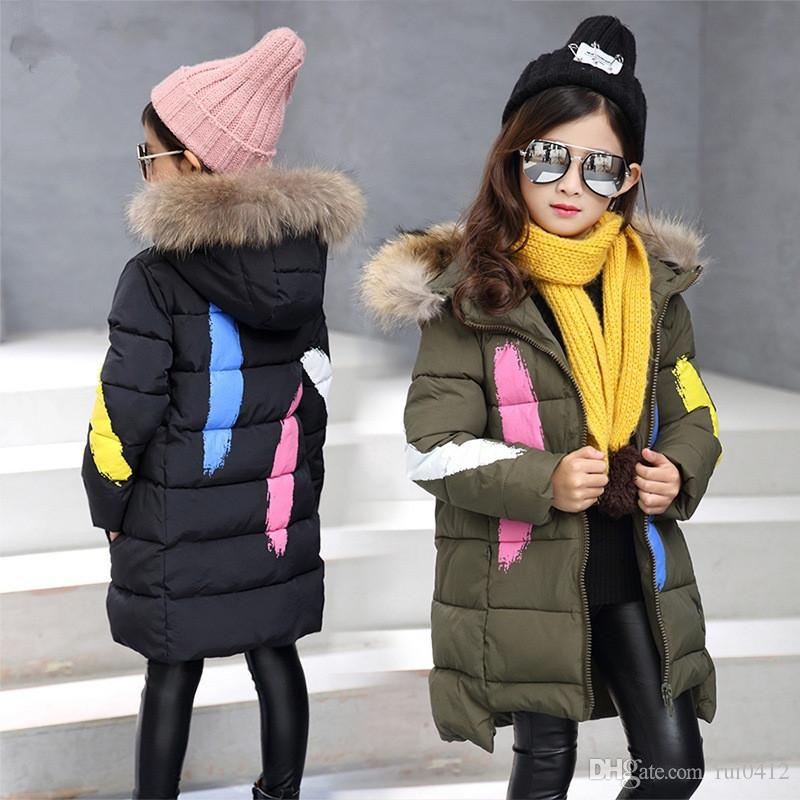 2017 New Winter Warm Jacket For Girls Kids Hooded Snow Wear Cotton ...