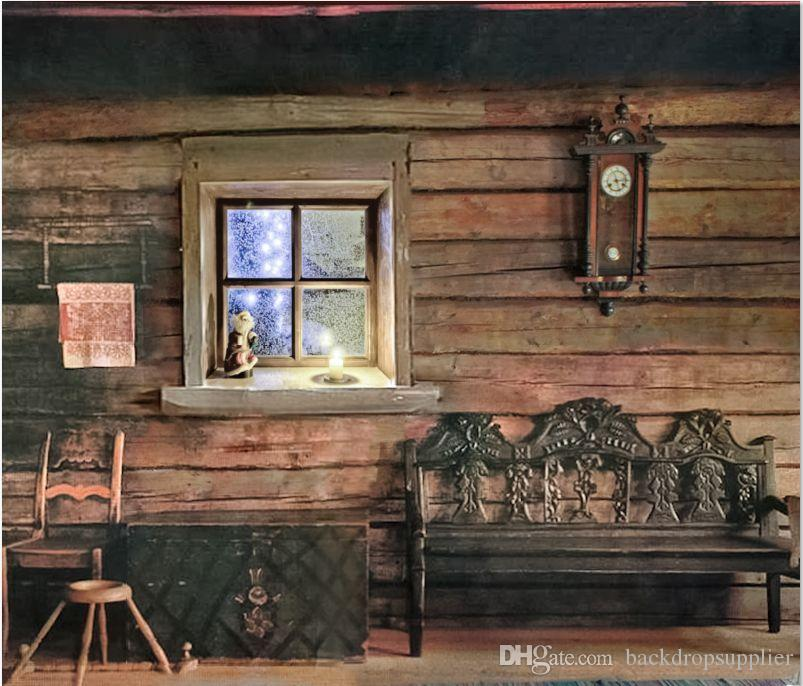 7x5ft farm wood house snowy window bench barn custom photo for Custom wood windows online