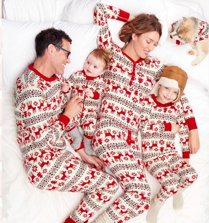 Christmas pajamas family clothes set matching mother and for Funny matching family christmas pajamas