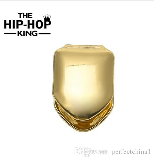 Outil de fête Gold Plated Single Teeth Grillz Plain Canine Tooth Grill Cap Haut