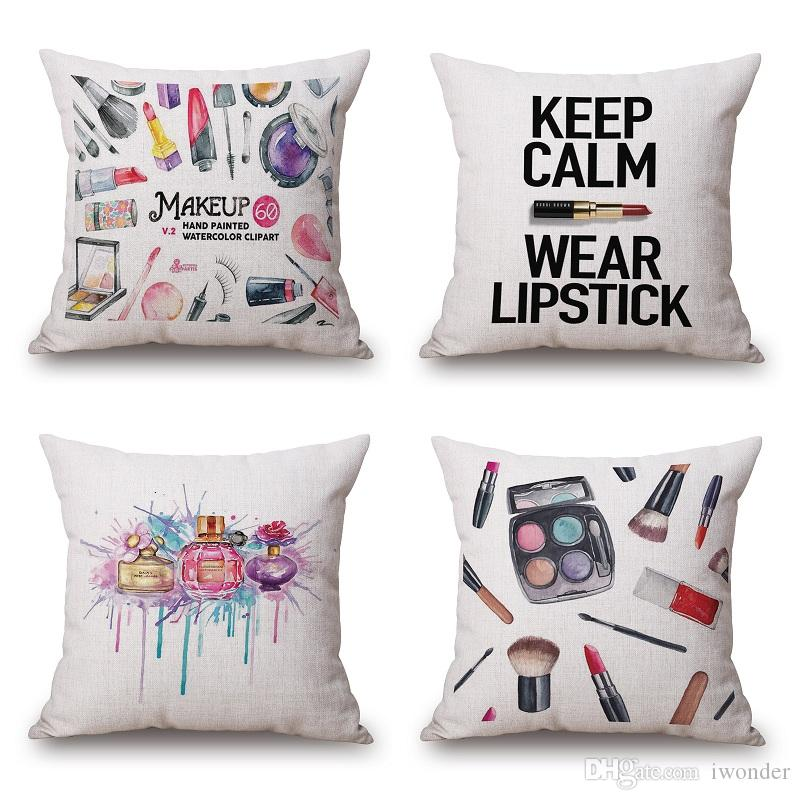 Lipstick Makeup Cushion Cover Perfume Bottle Cosmetic Box Pillow Cover Thin Linen Pillow Cases 9 Styles Bedroom Sofa Decoration Cushion Covers Pillow Cover ...