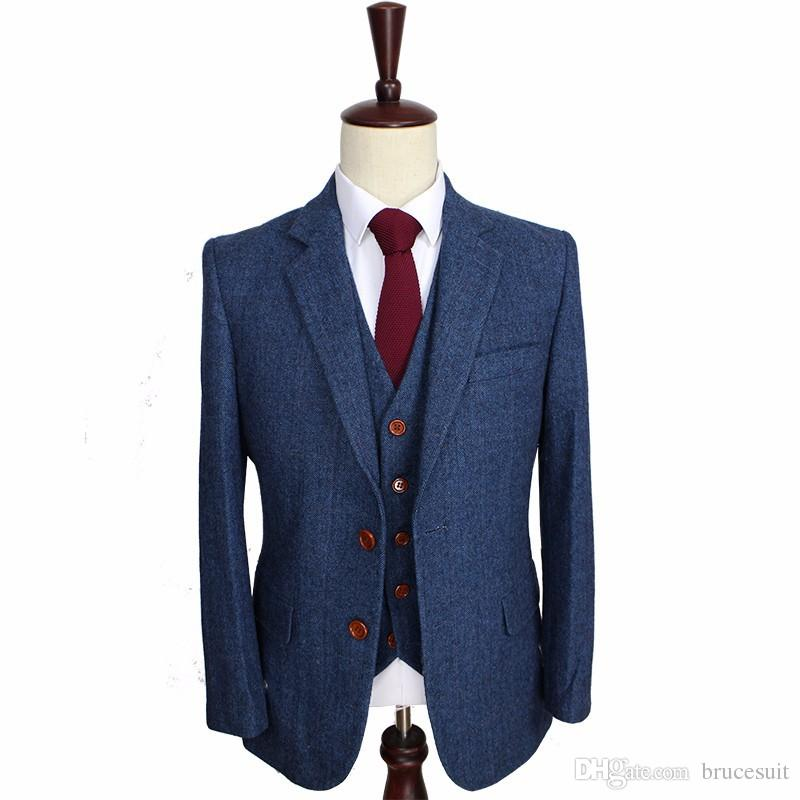 Herringbone Retro Gentleman Style Custom Made Men S Suits Tailor Suit