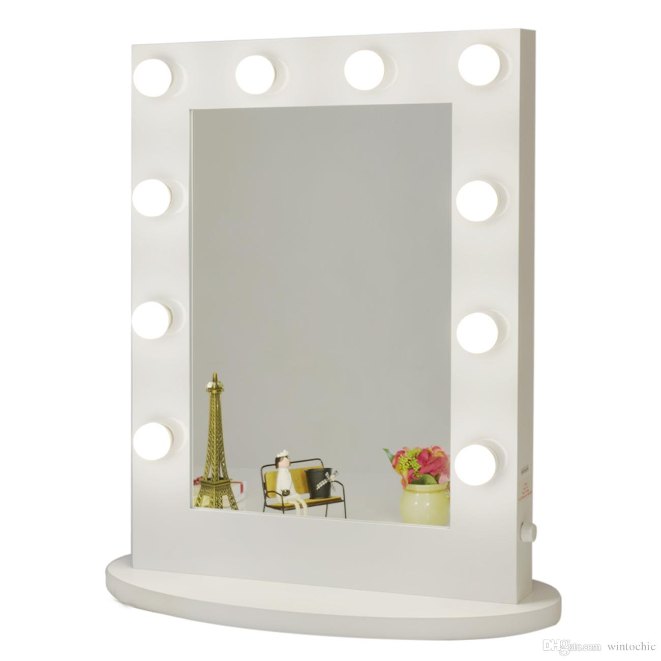 White vanity lighted hollywood makeup mirror with dimmer for Miroir avec lumiere