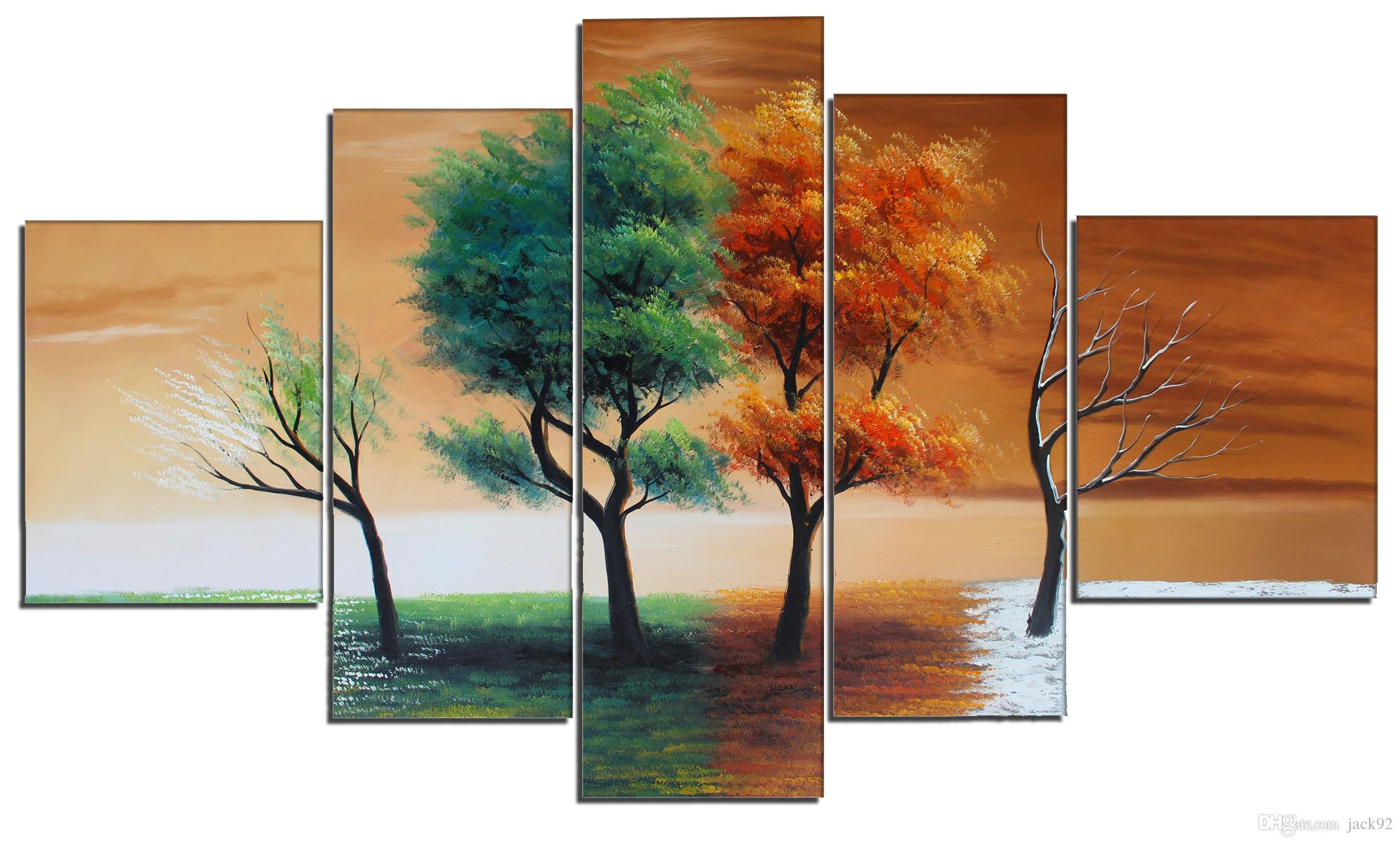 2017 hand painted landscape oil painting 5 panel seasons for 4 season decoration