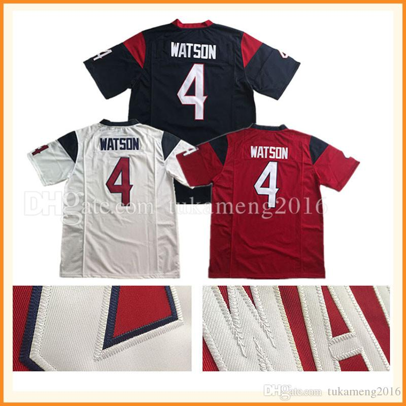 Men's 4 Deshaun Watson Game Football américain Jersey Rush Limited 2017 New Arri
