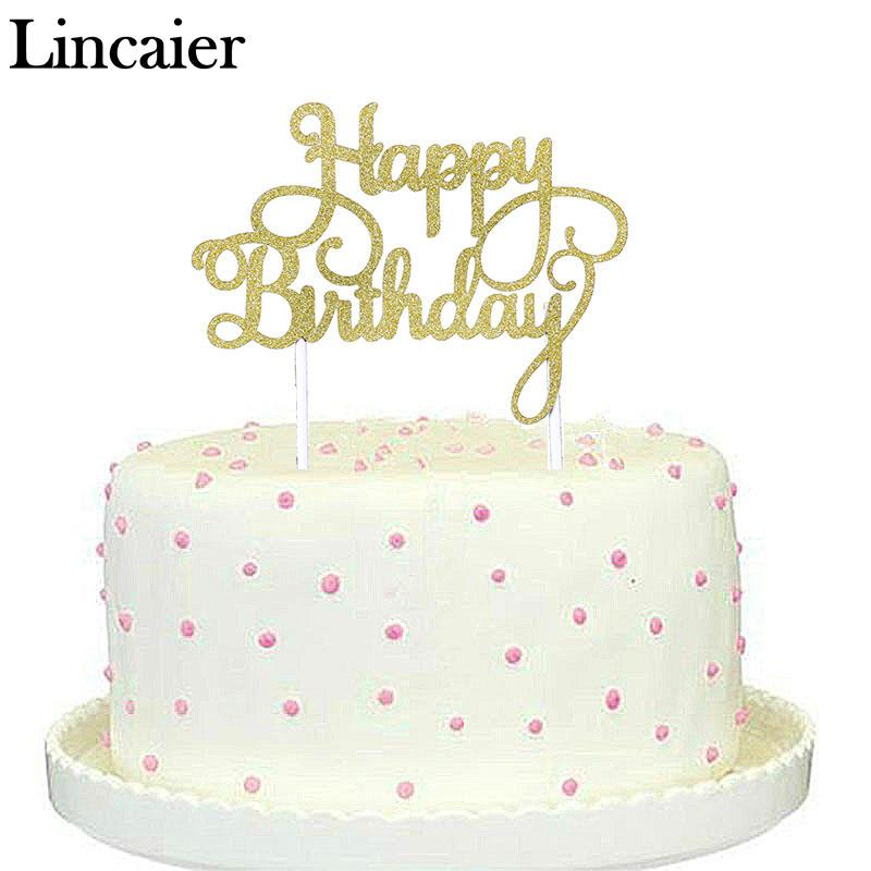 wholesale lincaier gold silver glitter 1st happy birthday cake toppers frozen children party decorations kids - Wholesale Cake Decorating Supplies