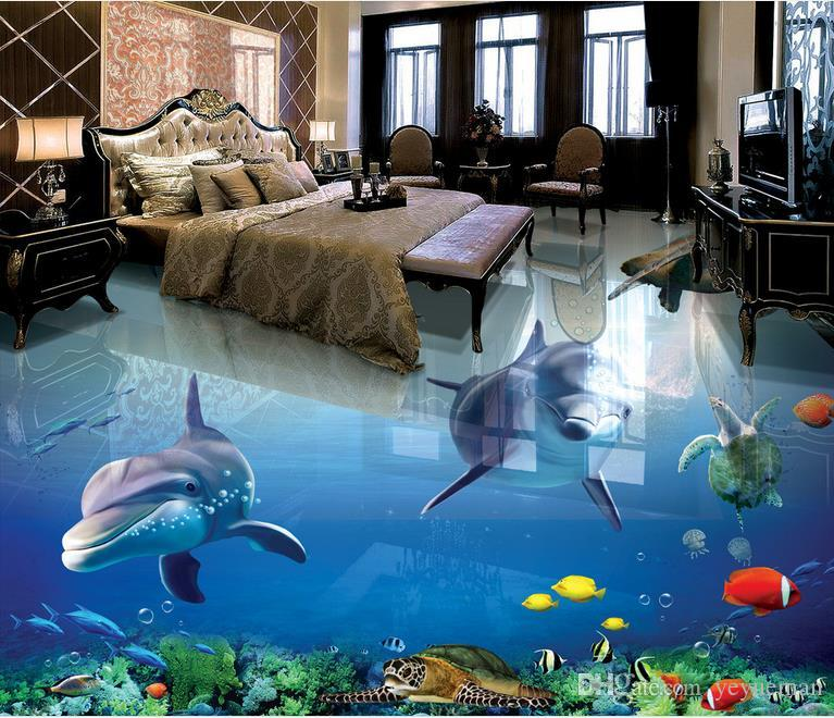 3d floor wallpaper murals custom 3d photo dolphin for 3d wallpaper waterproof