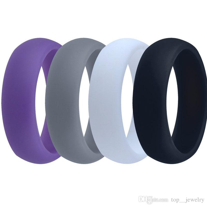 men women silicone wedding ring black grey blue band rubber ring for for sports enthusiast wholesale - Sports Wedding Rings