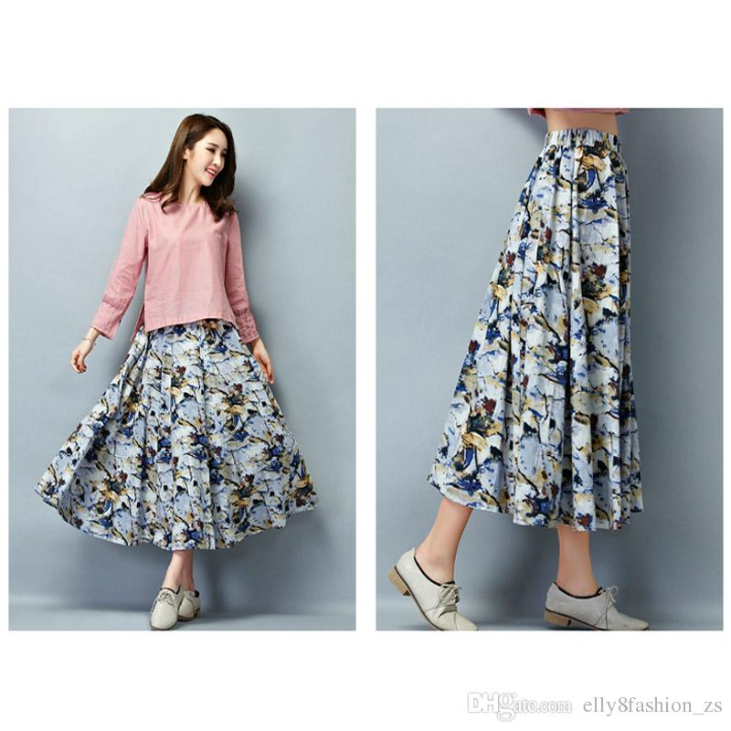 2017 Casual Long Skirt Spring And Autumn New Cotton Waist Maxi ...
