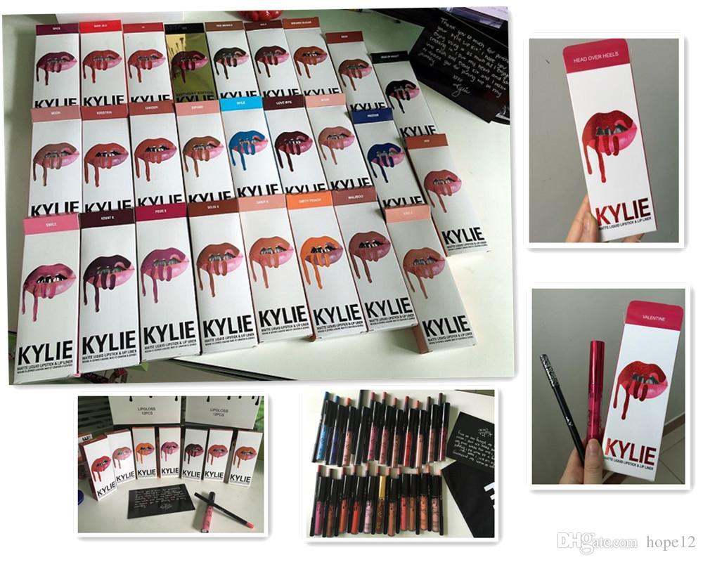 Latest 30 colors KYLIE JENNER LIP KIT regular 28 x valentine head over heel Kylie Lipliner Liquid Matte Lipstick Red Velvet Lip Gloss DHL
