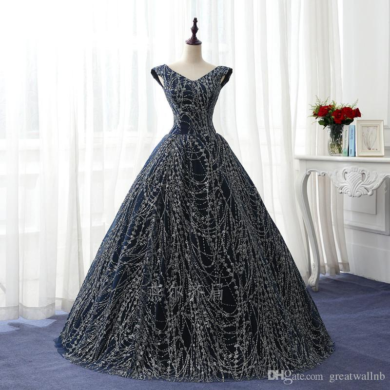 100%real Navy Blue Full Silver Glitter Ball Gown Court Medieval ...