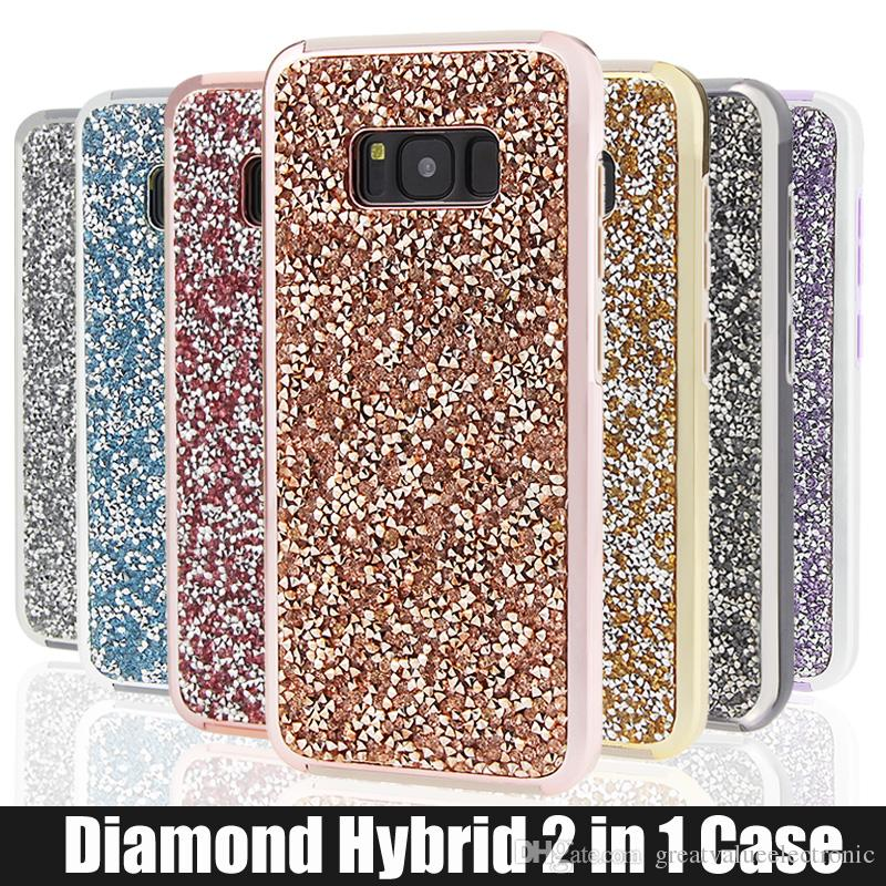 Pour iPhone 5 6 6s 7 7plus Samsung Galaxy S8 s8 plus étui Glitter Hybrid 2 en 1