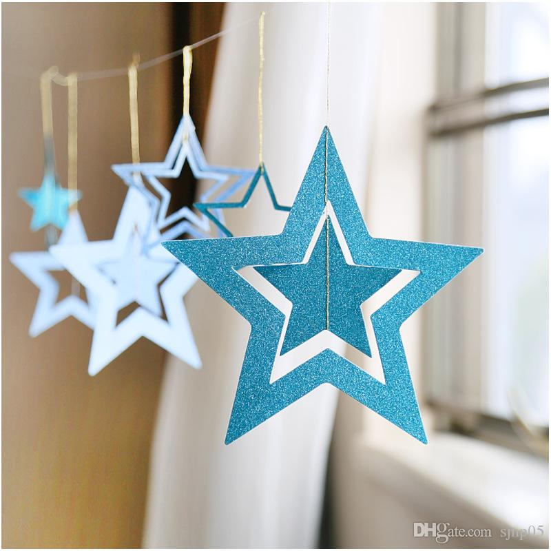Set Hollow Paper Star Garlands Handmade Birthday Wedding Party