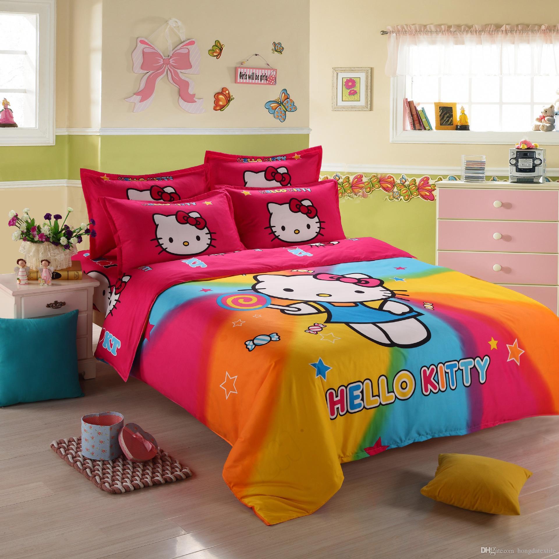 3d Hello Kitty Bedding Set Children Bed Linen Cartoon Duvet Cover Set With Bed Sheet Pillow Case