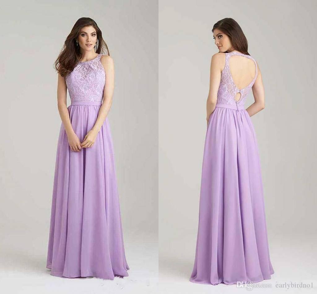2017 Simple Modest Lavender Chiffon Bridesmaid Dresses
