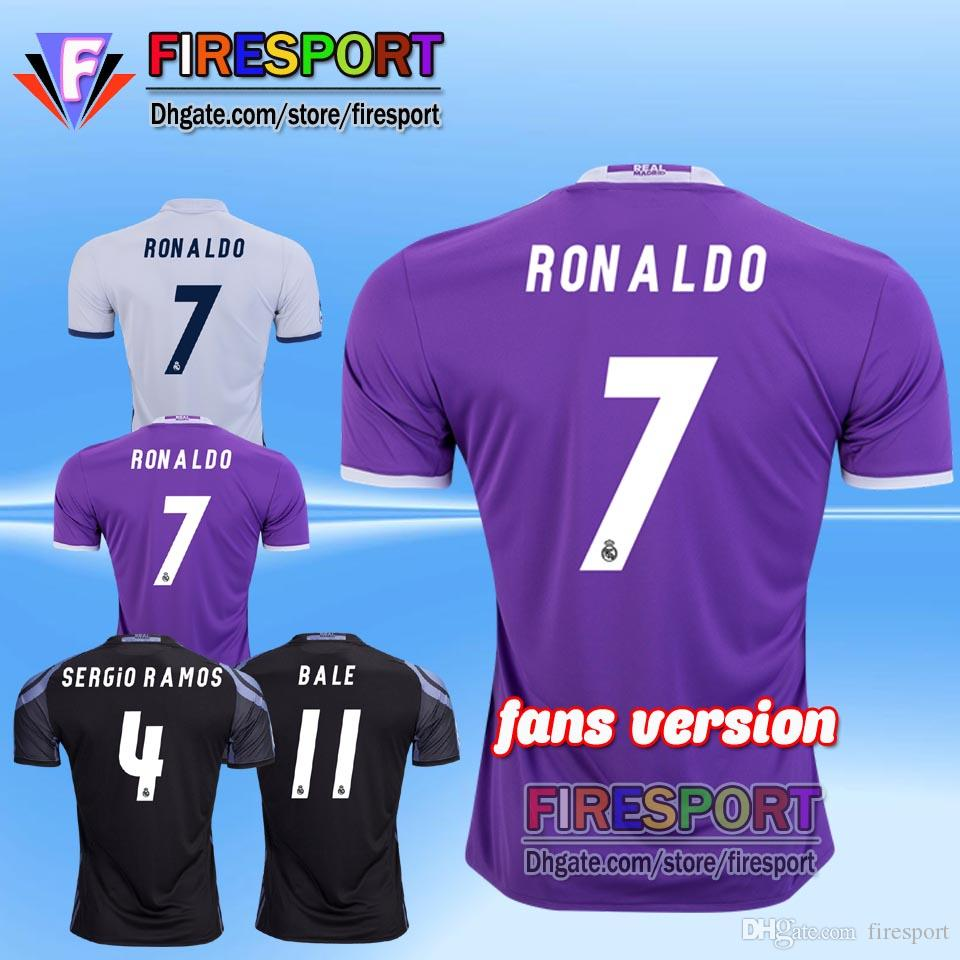Thai Quality 2017 Real madrid soccer Jersey 16 17 Cristiano RONALDO maison blanc