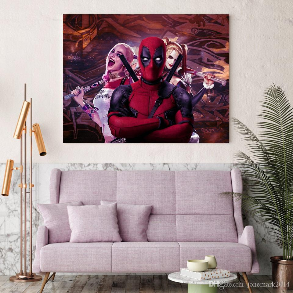2018 harley quinn deadpool comic wall art canvas pictures for Harley quinn bedroom ideas