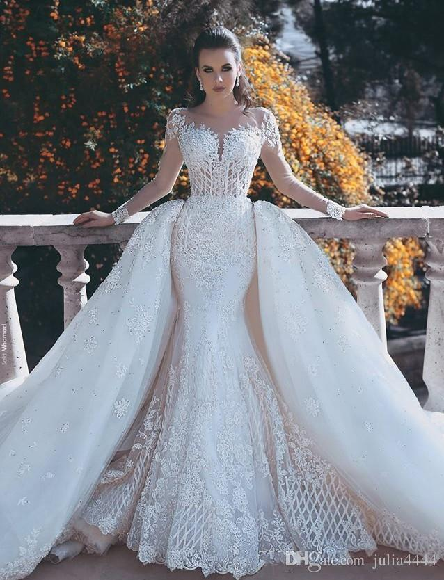 2017 new backless mermaid lace wedding dresses with for Mermaid wedding dress with detachable train