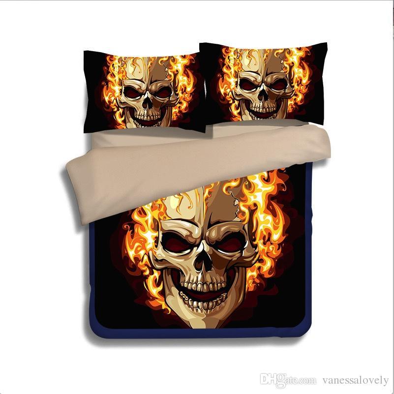 3 Bedding Set 3d Dramatic Skull Skeleton Flat Bed Sheet