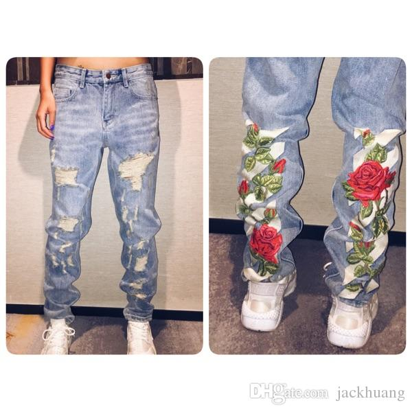 Striped rose embroidery denim jeans hole ripped distressed jogger striped rose embroidery denim jeans hole ripped distressed jogger pants flower patches biker jeans for men and women men rose jeans online with 499piece ccuart Images
