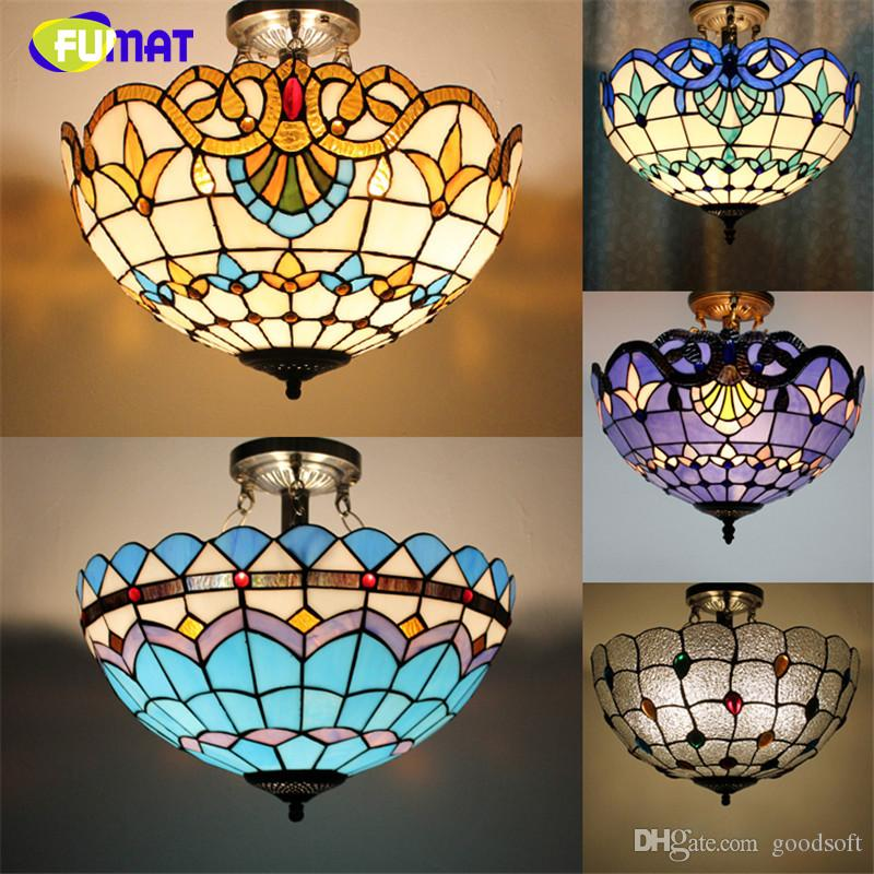 Tiffany ceiling lamp creative art stained glass suspension for Suspension baroque