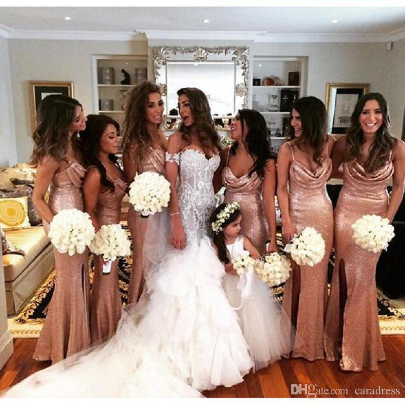 Sparkly Rose Gold Mermaid Bridesmaid Dresses 2017 Spaghetti Straps ...