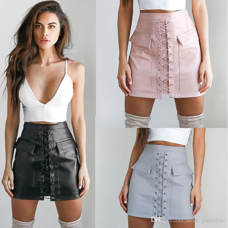 2017 Top Quality High Waist Lace Up Chic Leather Skirt Pink Grey ...