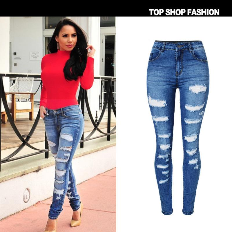 2017 Wholesale Plus Size 44 46 Ladies High Waist Jeans Woman ...