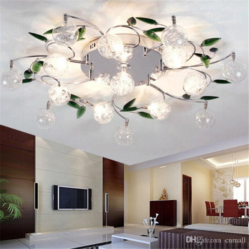 LED Ceiling Light Modern Green Leaves Crystal Ball Aluminium Wire Lamp For Study Bedroom Living Room Dining