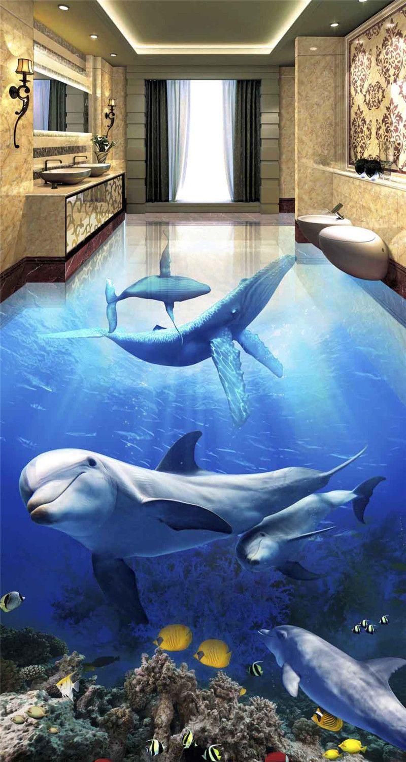 Custom Any Size Waterproof Self Adhesion Home Decoration Ocean - Ocean floor painting