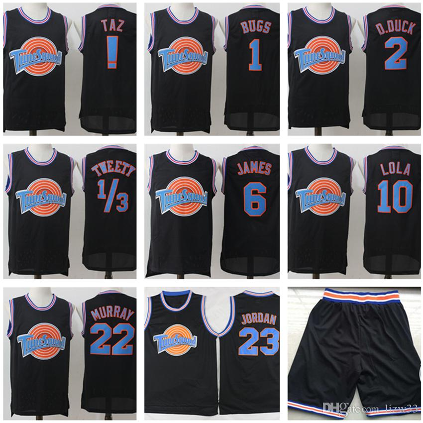 Space Jam Tune Squad Looney Tunes! TAZ 22 Bill Murray 1 Bugs Bunny Jerseys Noir