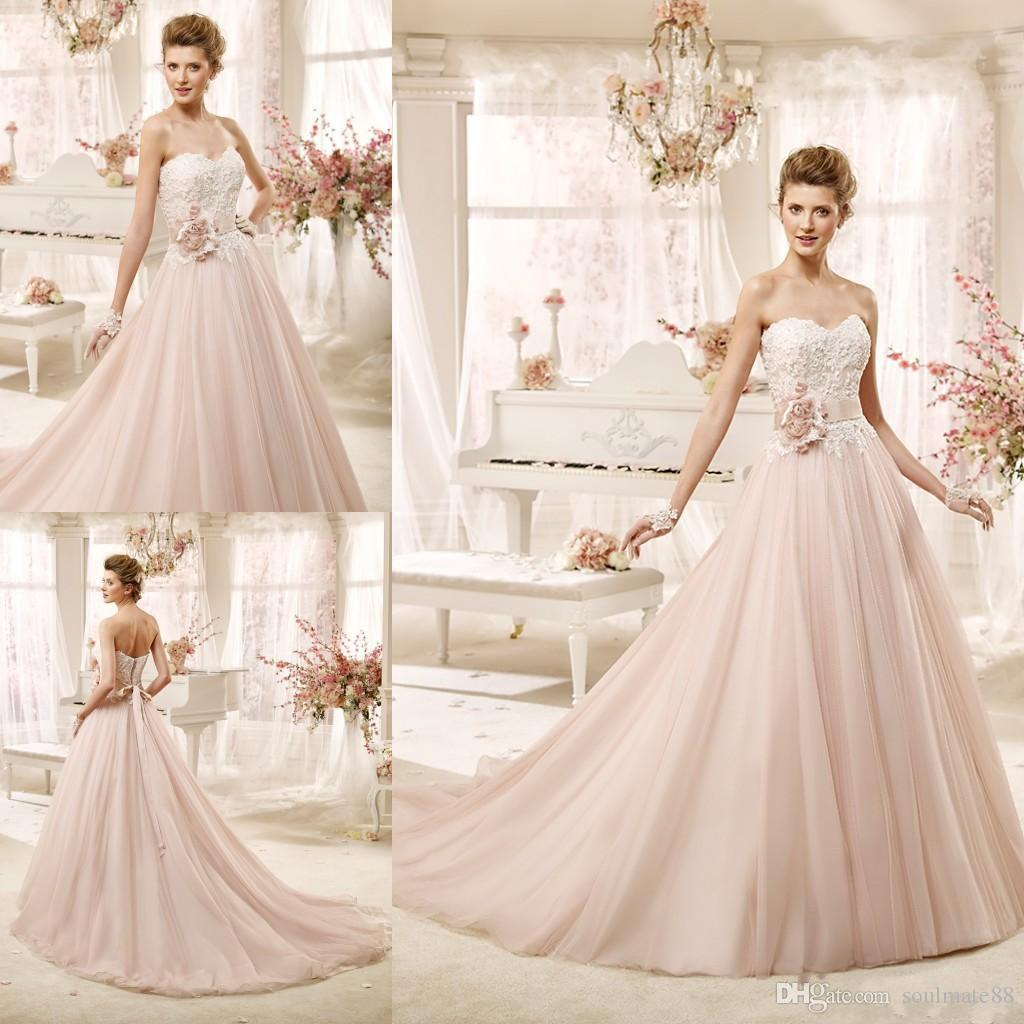 Vintage Wedding Dresses Pink : Blush pink wedding dresses vintage bridal gowns a line sweetheart