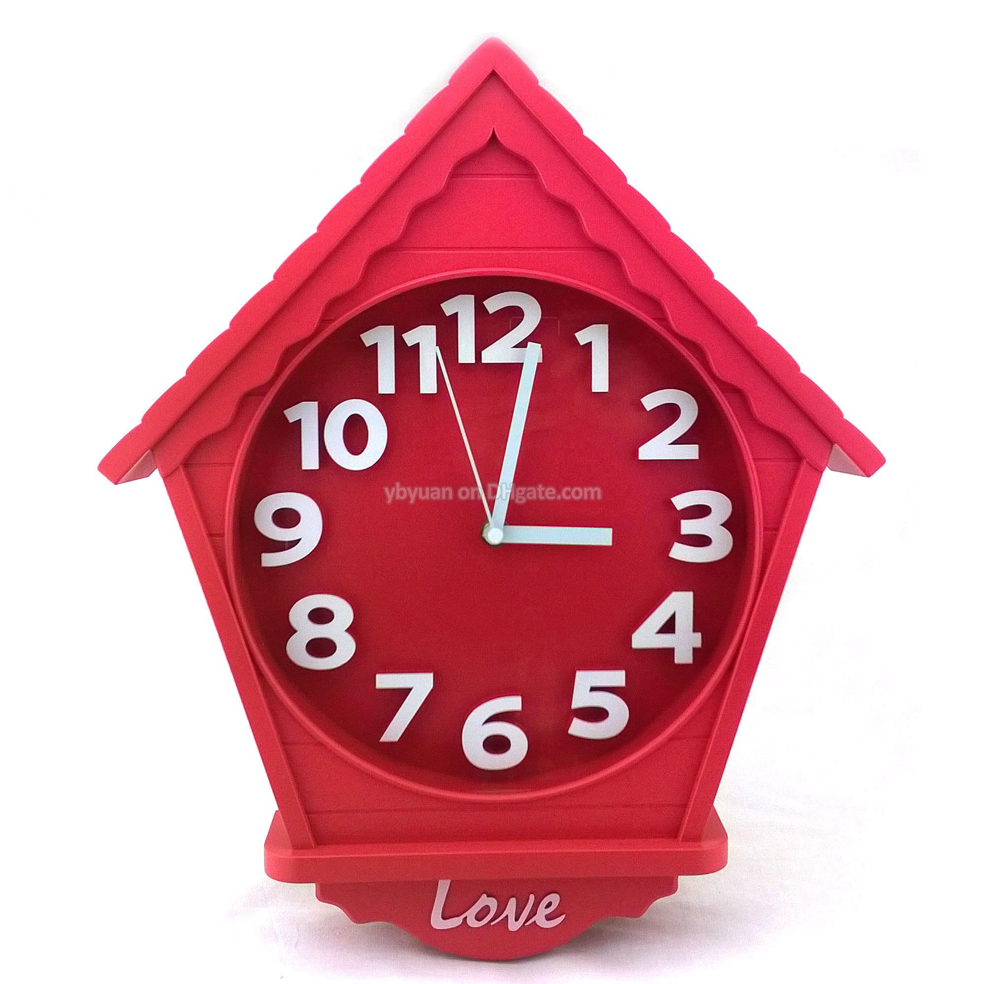 House shape wall clock decorative cabin type timepiece creative house shape wall clock decorative cabin type timepiece creative living room silent quartz cottage style watch home decoration decorative wall clock house amipublicfo Choice Image