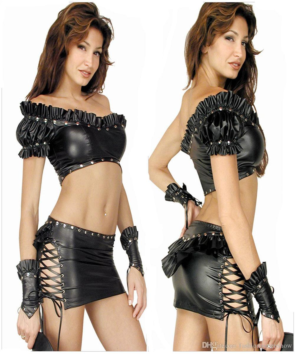 Long black leather gloves prices - Sexy Clubwear Women Off Shoulder Ruffle Gothic Black Faux Leather Rivet Pole Dancing Costume 3 Pieces Tops Skirt Glove