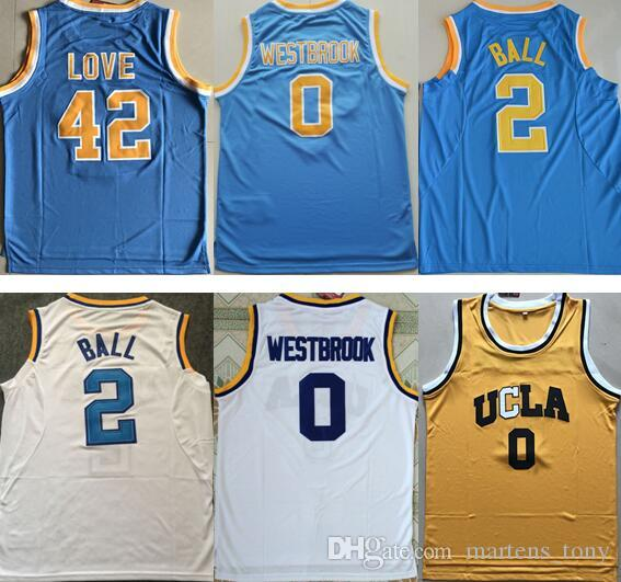 UCLA Bruins College Jerseys # 0 Russell Westbrook Jersey # 42 Kevin Love # 2 Lon