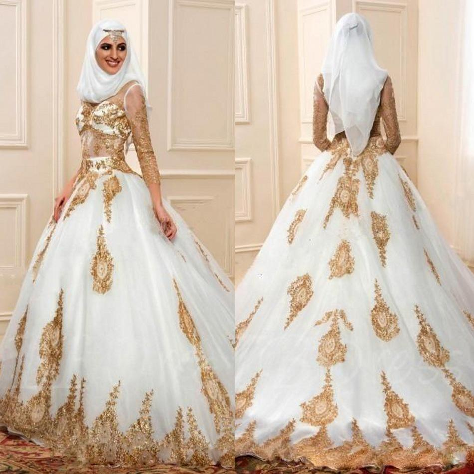 Discount Modern Muslim Wedding Dresses 3 4 Sleeves With Gold Appliques Arabic Bridal Gown Indian
