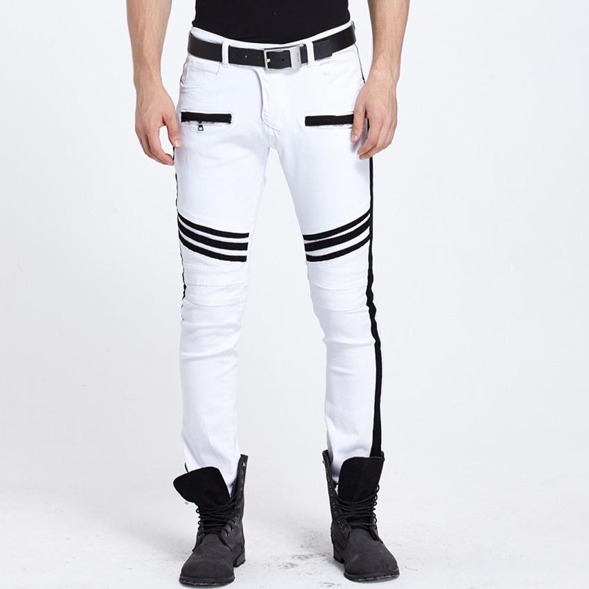 2017 Wholesale Hot Sell White Jeans Men Motorcycle Black Stripe ...