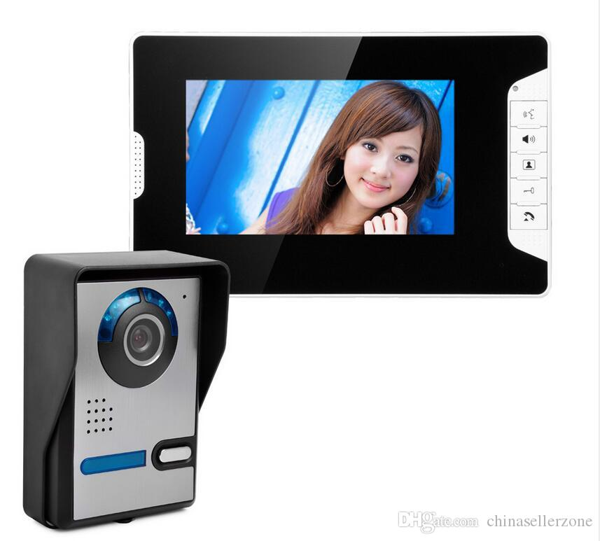 Security 7 Inch Screen Video Recorder Door Phone Intercom System Doorbell IR Camera Intercom Doorbell+Electric Lock Intercom System Doorbell Screen Video ...