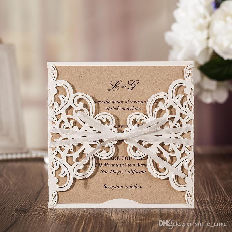 new 2017 personalized wedding invitation cards ivory flora laser