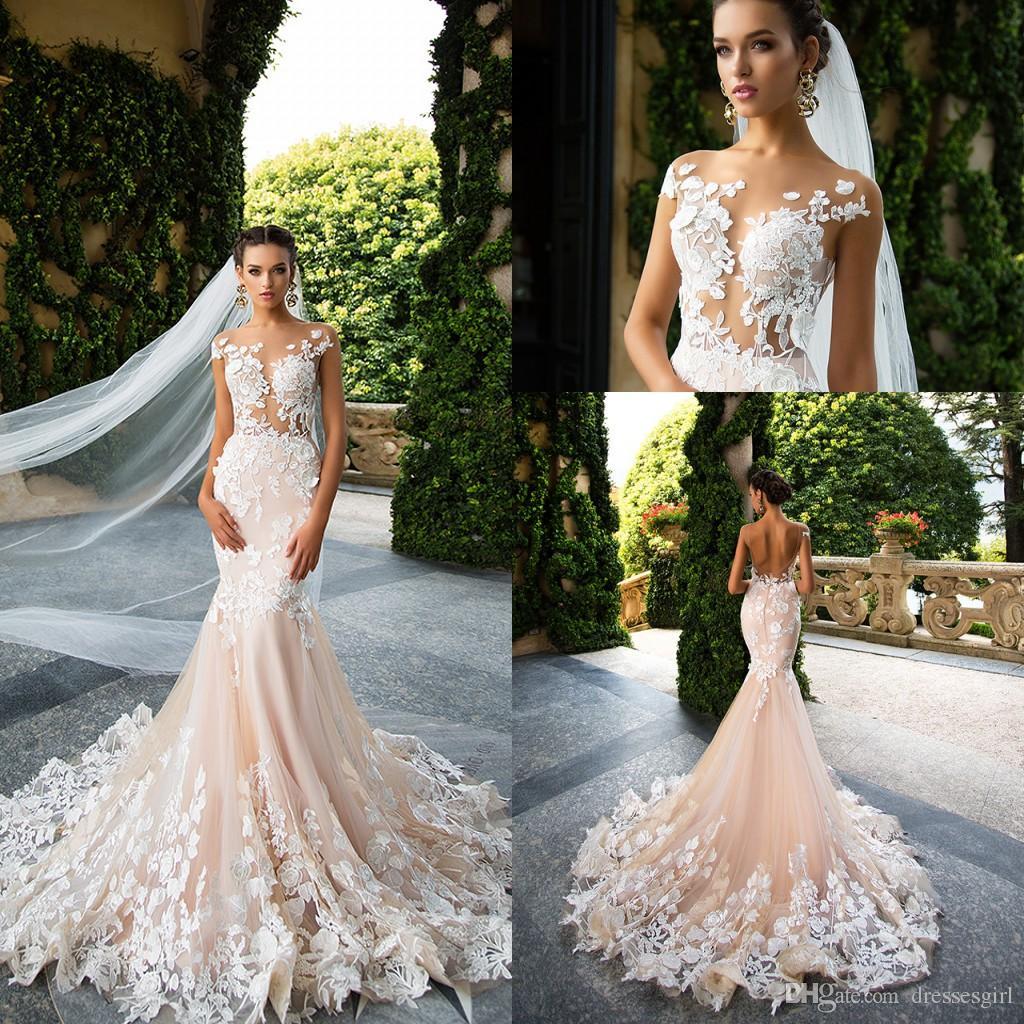 2017 Milla Nova Appliques Mermaid Wedding Dresses Sheer