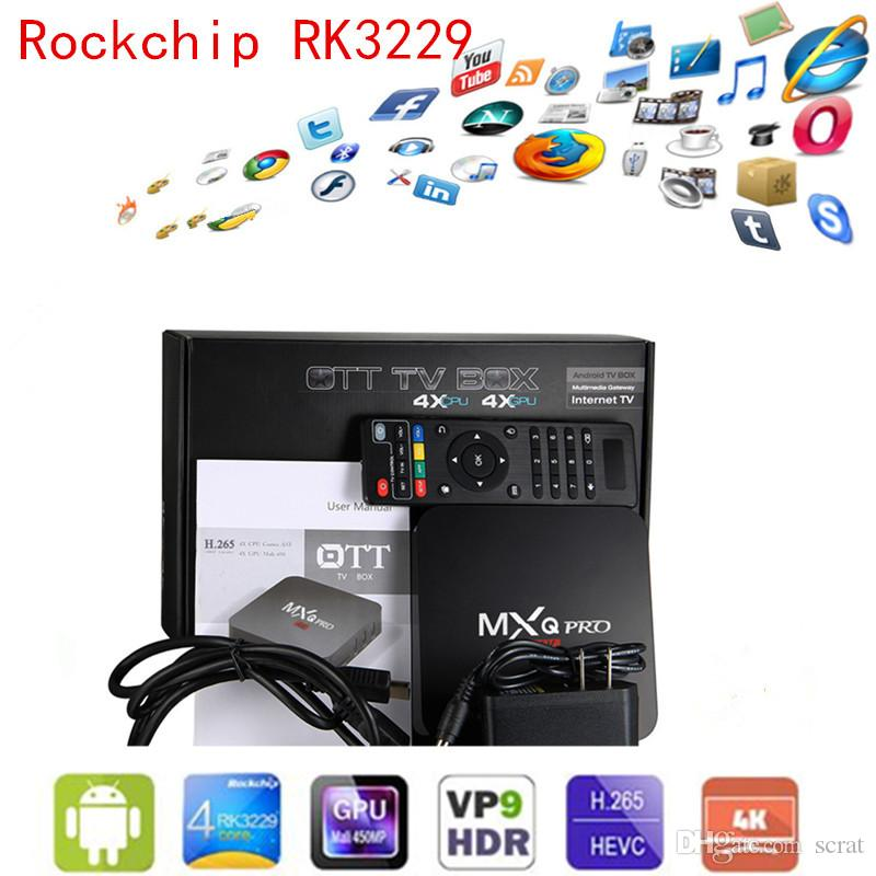 Prix ​​d'usine MXQ PRO 4K Android OTT TV BOX Quad Core Rockchip RK3229 Android 6