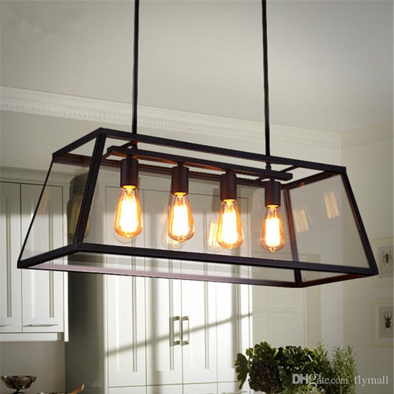 Loft Pendant Lamp Retro American Industrial Black Iron Glass Rectangular Chandelier Light Living