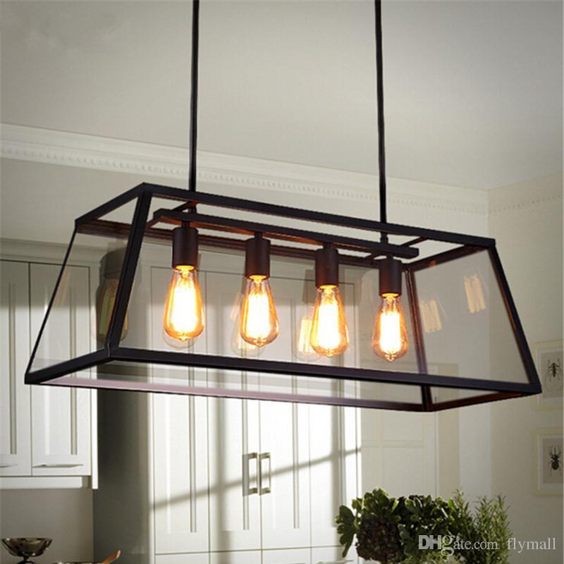 Loft pendant lamp retro american industrial black iron for Living room hanging lights